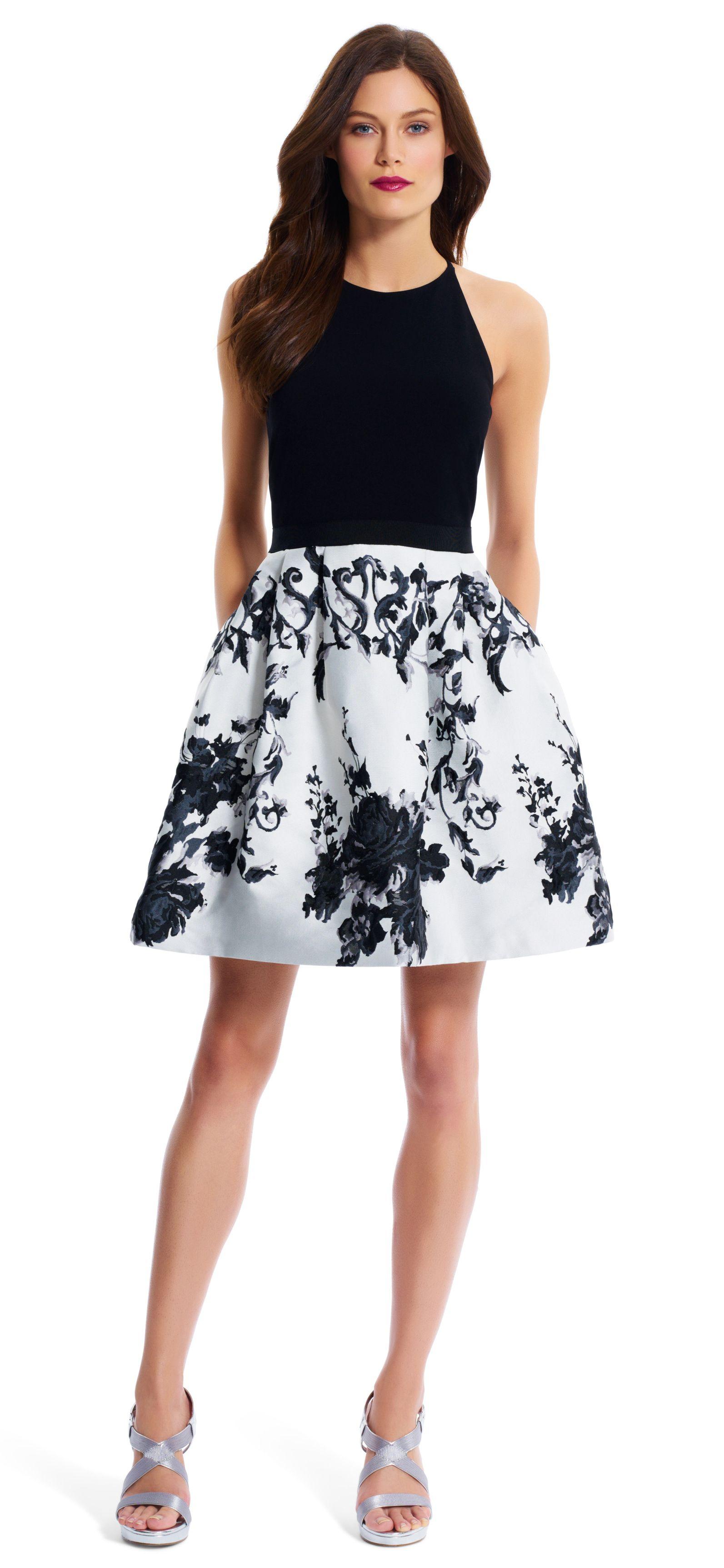 Mixed media halter party dress - Adrianna Papell | Party Dress ...