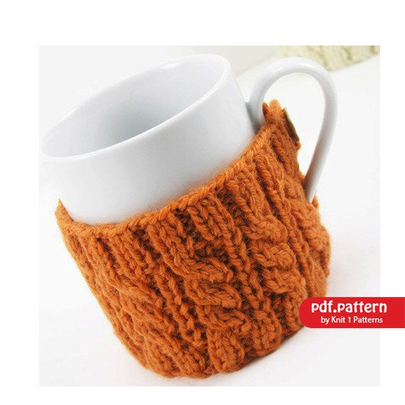 4 cable knit mug cosies, ideal way for keeping your mug of tea or coffee warm. They are great when team up with a matching tea or cafetiere cosy in