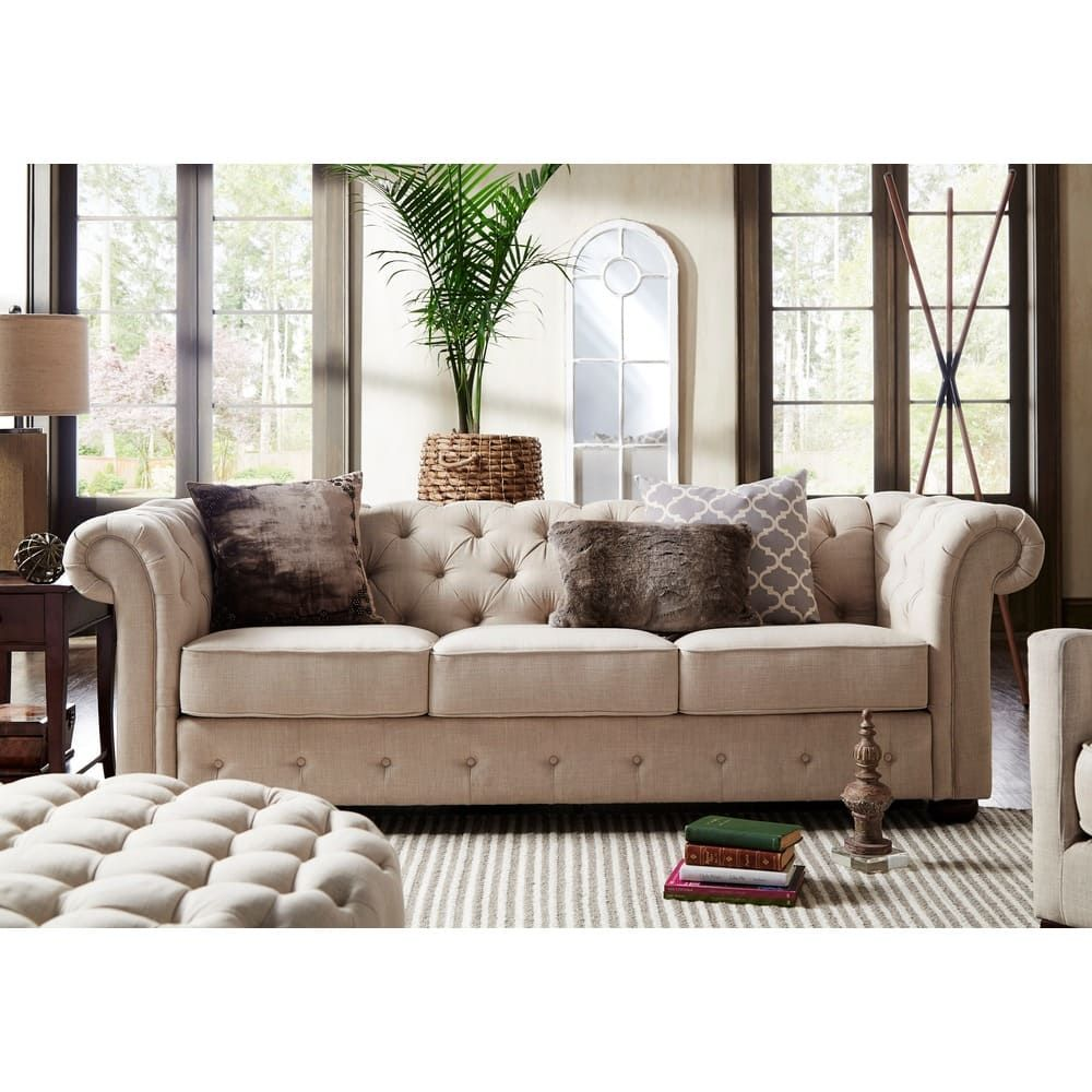 Knightsbridge Beige Fabric Button Tufted Chesterfield Sofa and Room Set by  iNSPIRE Q Artisan | Overstock