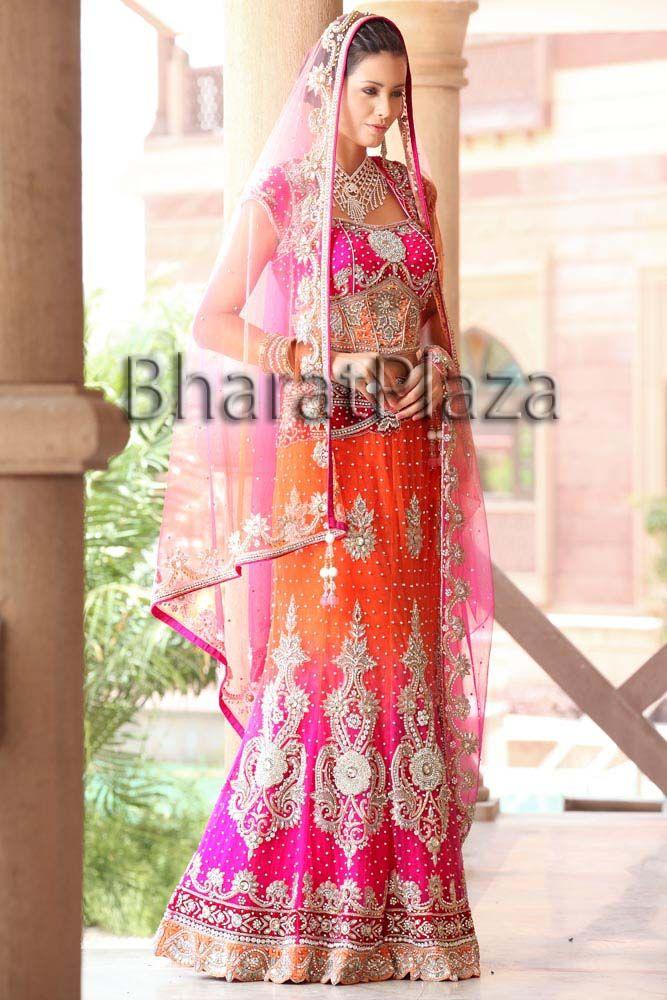 Sunset colored bridal! | Outfit ideas | Pinterest | Lehenga de novia ...