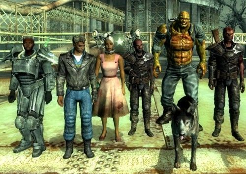 Fallout 3 Companions. Left to right: Paladin Cross, Butch DeLoria, Clover, Jericho, Fawkes, Dogmeat (the doggy), and Charon.