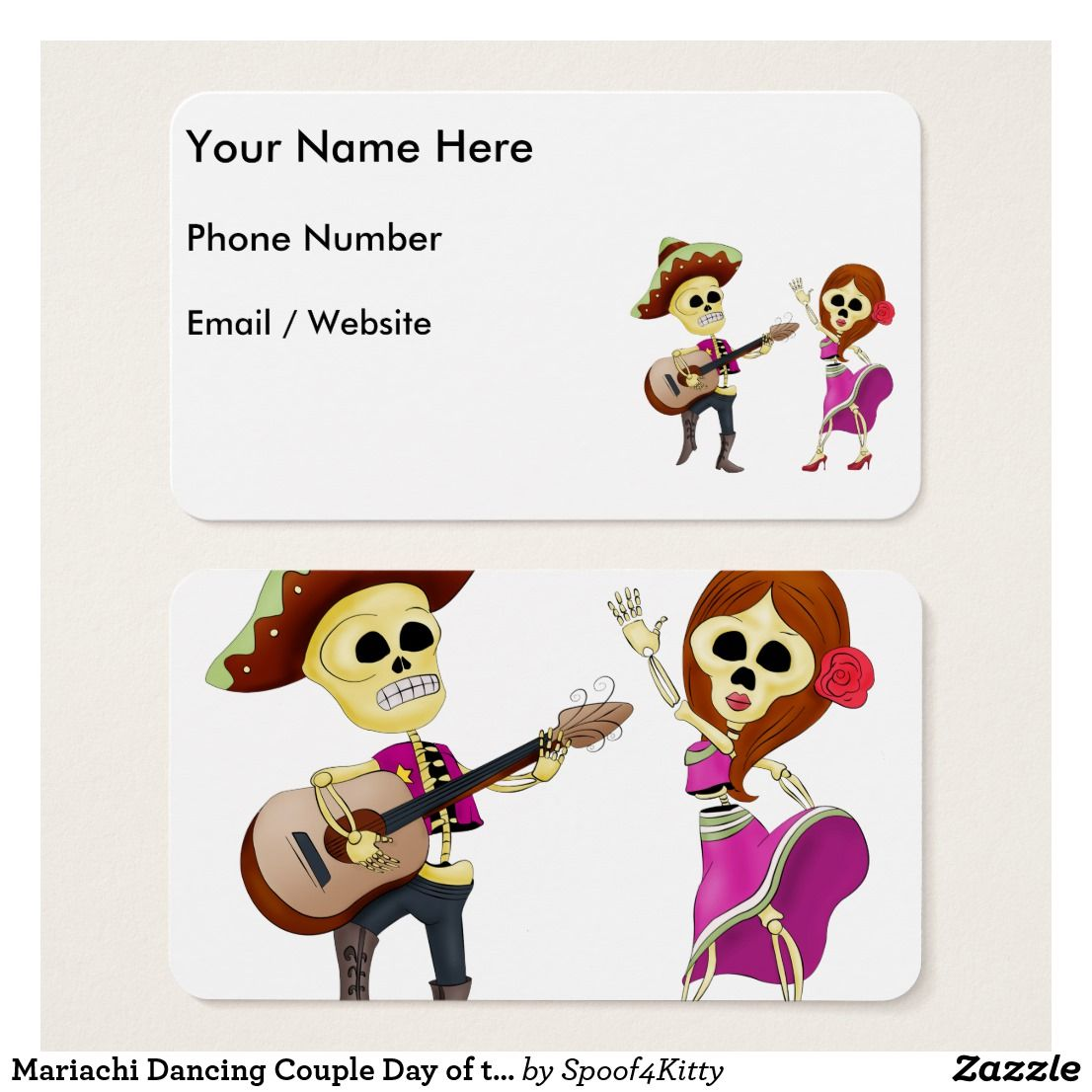 Mariachi Dancing Couple Day Of The Dead Business Card Business