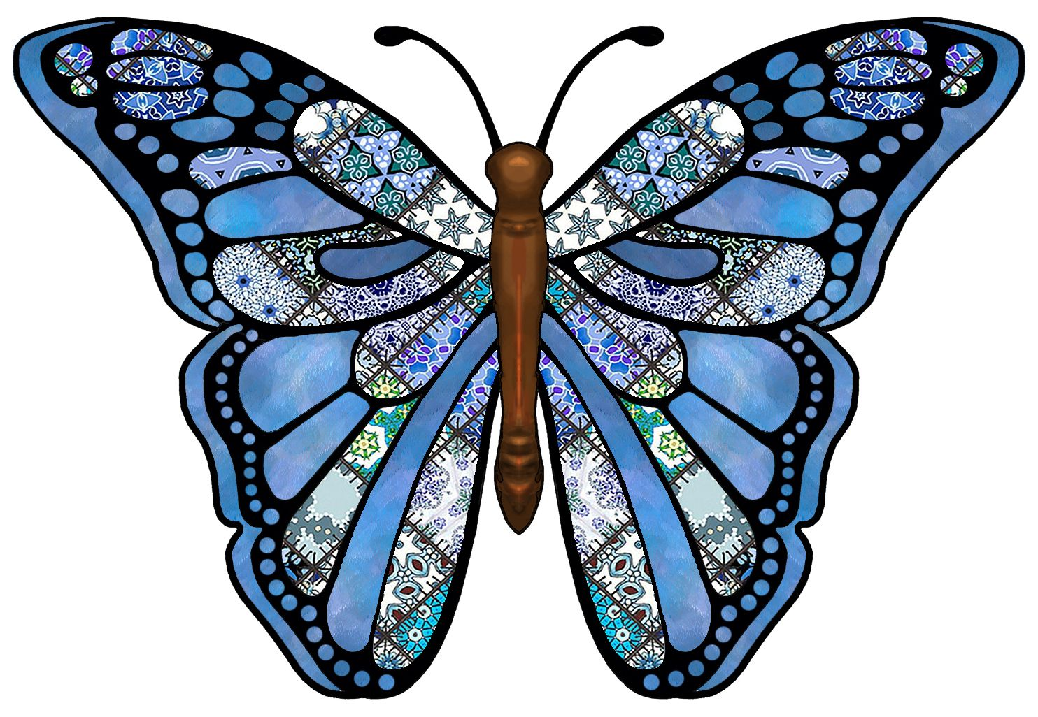 ArtbyJean - Butterflies: Gorgeous Butterfly with blue patchwork ...