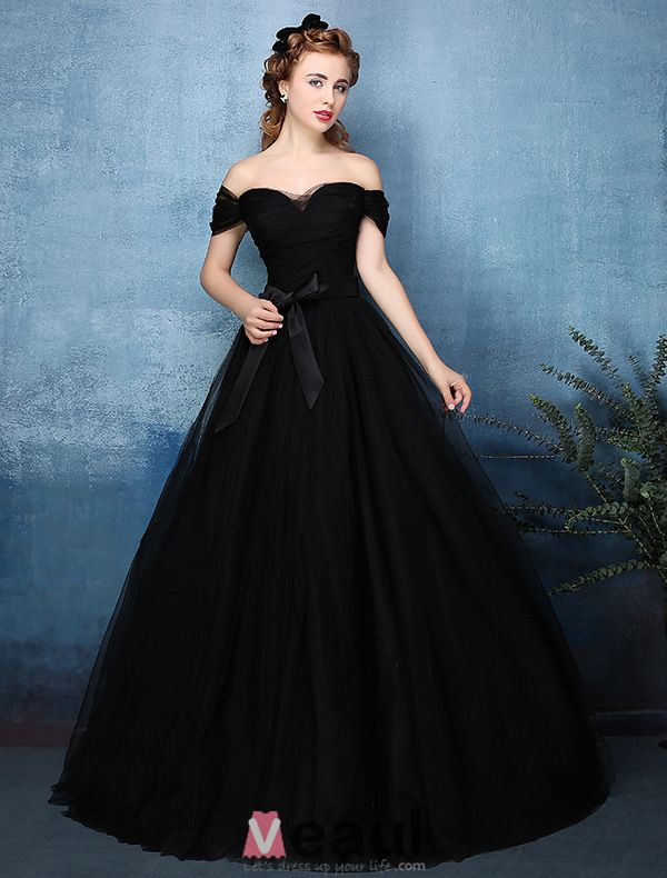 Beautiful Simple Ball Gown Off The Shoulder Sweetheart Black Tulle ...