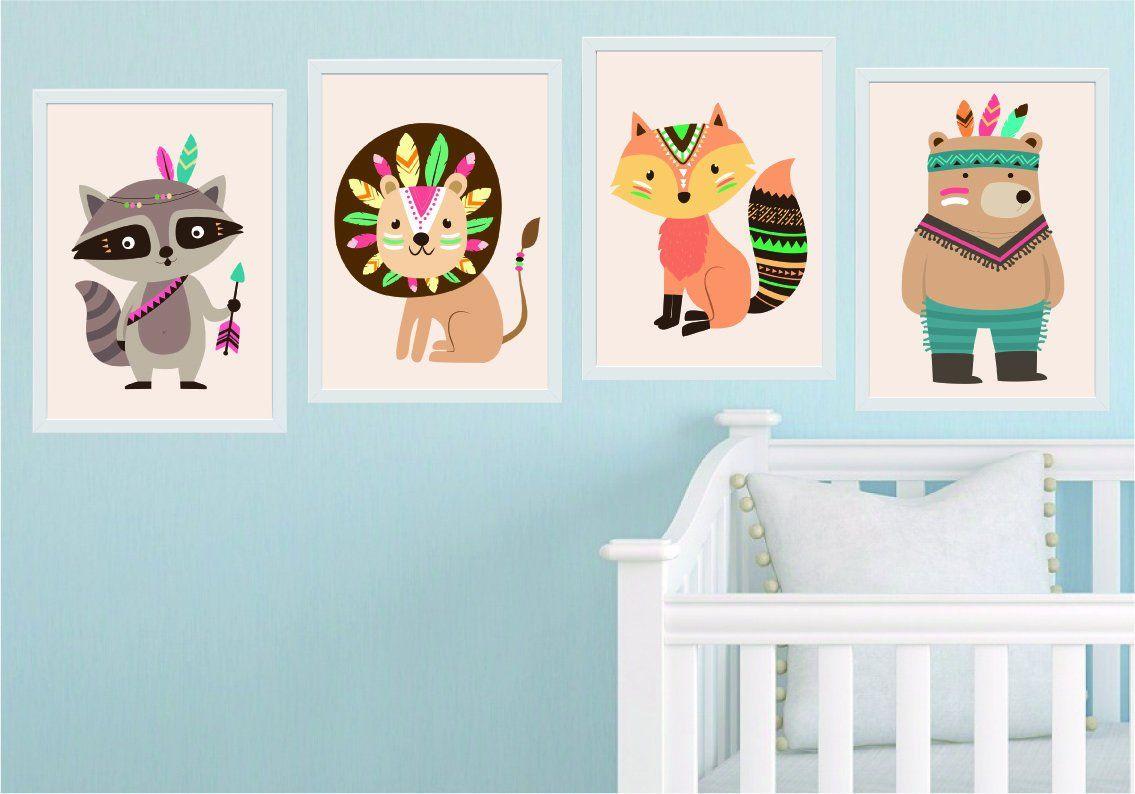 Kinderzimmer Indianer Tiere Bilder Set Drucke