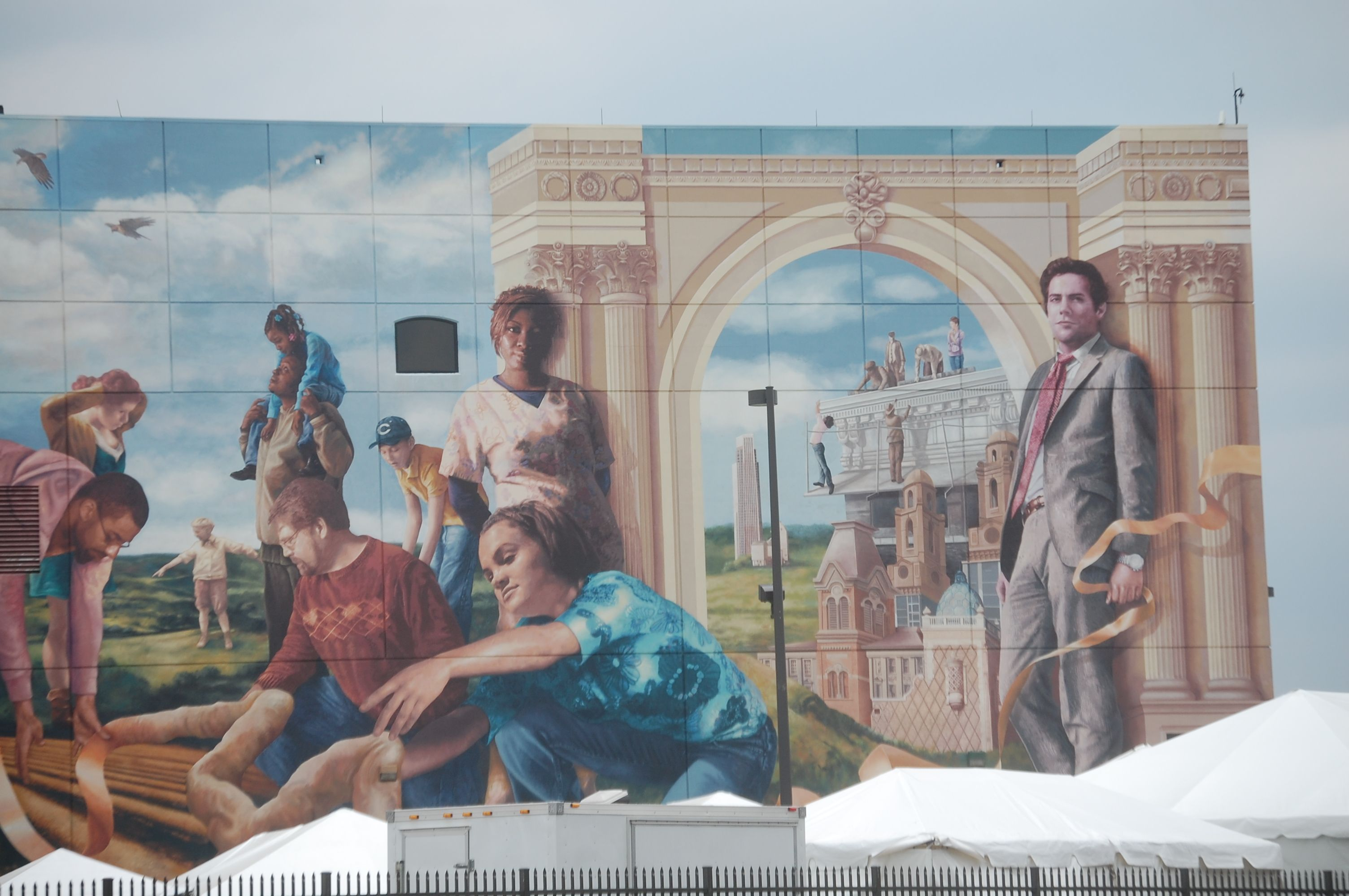 Closeup of a section of a HUGE wall mural in Omaha Nebraska