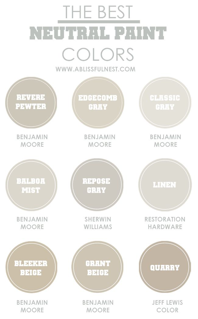 Picking the best neutral paint colors via a blissful nest for Neutral shades of paint