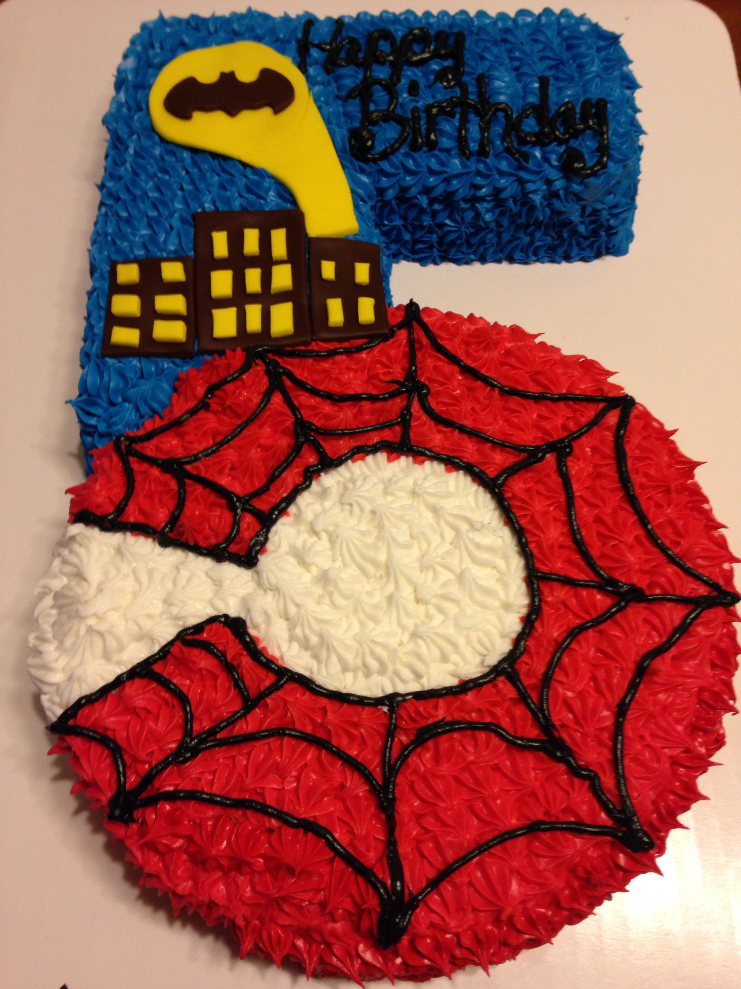 Number 5 Shaped Cake In Batmanspider Man Theme Our Custom Cakes