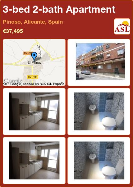 3-bed 2-bath Apartment in Pinoso, Alicante, Spain ►€37,495 #PropertyForSaleInSpain