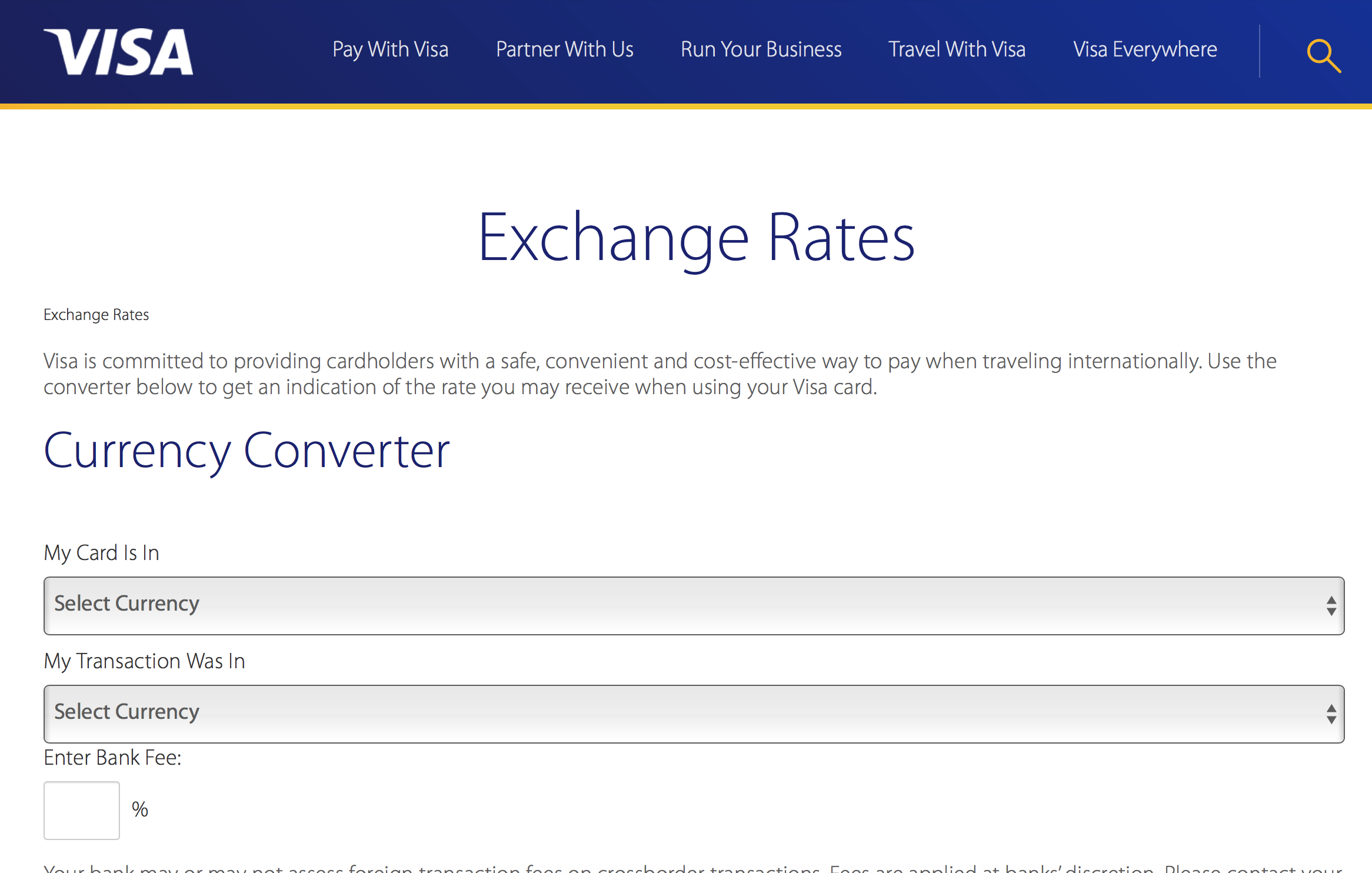 Visa Exchange Rate Conversion
