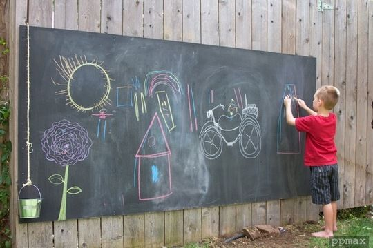 Outdoor Chalkboard: Get a 4 x 8 plywood sheet and mix a chalkboard-colored outdoor paint with unsanded tile grout:   1. Pour 1 cup of paint into a container. Add 2 tablespoons of unsanded tile grout. Mix with a paint stirrer, carefully breaking up clumps. 2. Apply paint with a roller or a sponge paintbrush to a primed or painted surface. Work in small sections, going over the same spot several times to ensure full, even coverage. Let dry.  3. Smooth area with 150-grit sandpaper, and wipe off…