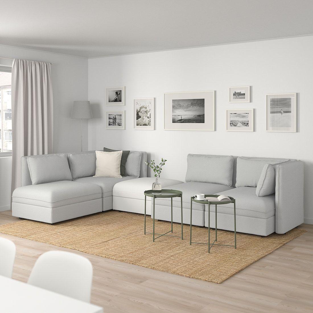 Vallentuna Modular Corner Sofa 4 Seat With Storage Orrsta Murum Light Gray White Ikea In 2020 Modular Corner Sofa Vallentuna Modular Sofa