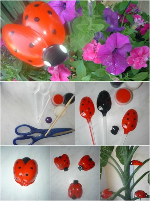 Quick Recycling Craft: Adorable Ladybugs made from Plastic Spoons #recycledcrafts