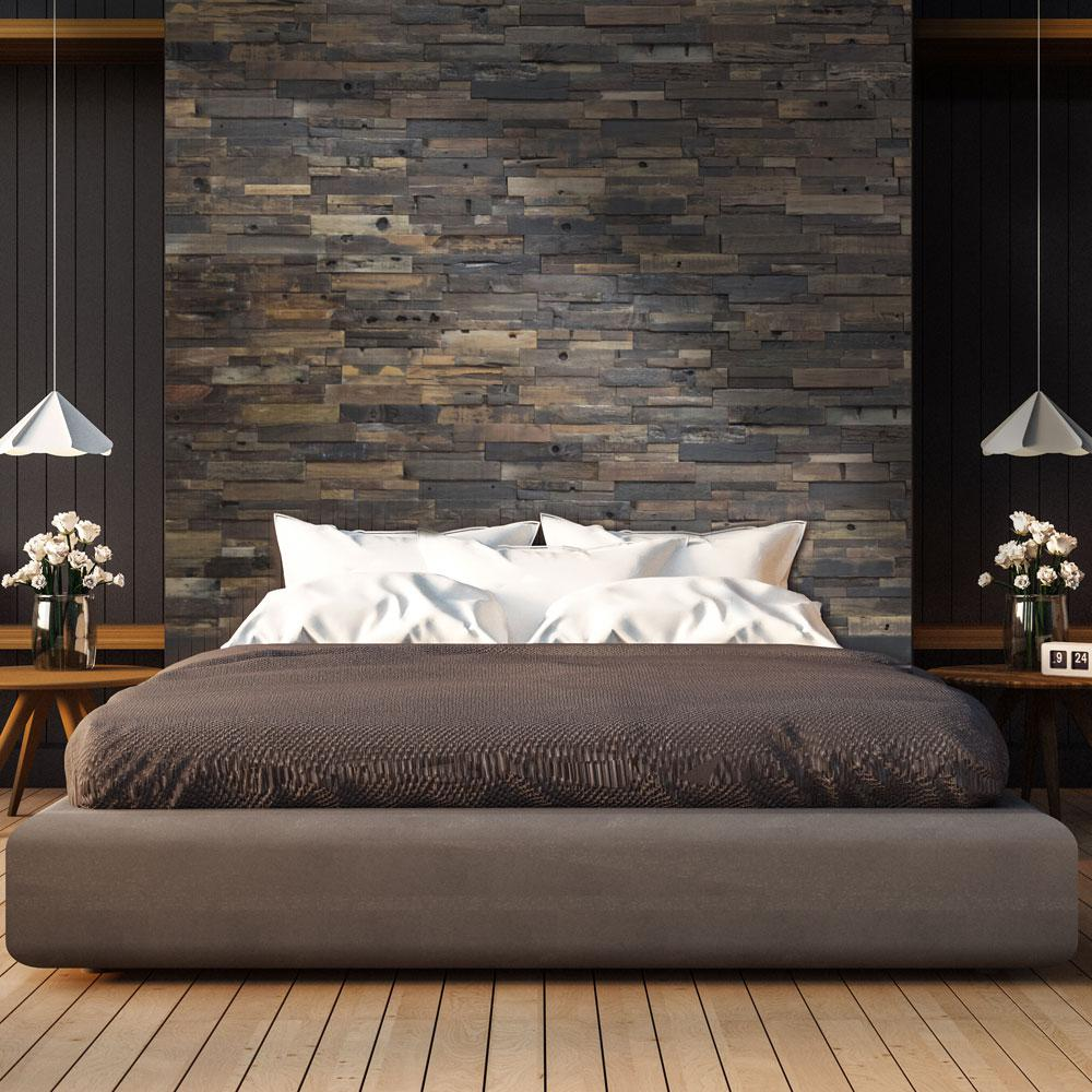 Realstone Systems Reclaimed Wood 1 2 In X 24 In X 12 In Dark Balau Boat Wood Wall Panel 10 Box Rwp In 2020 Wood Walls Bedroom Wood Panel Walls Wood Wall Headboard