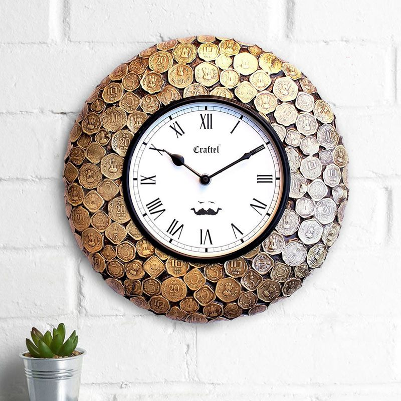 Buy Antique Coin Studded Brass Metal Decorative Wall Clockonline