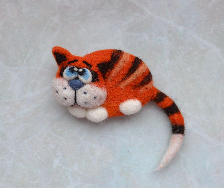 Felted red Cat Brooch Wool Accessories Felt Brooch