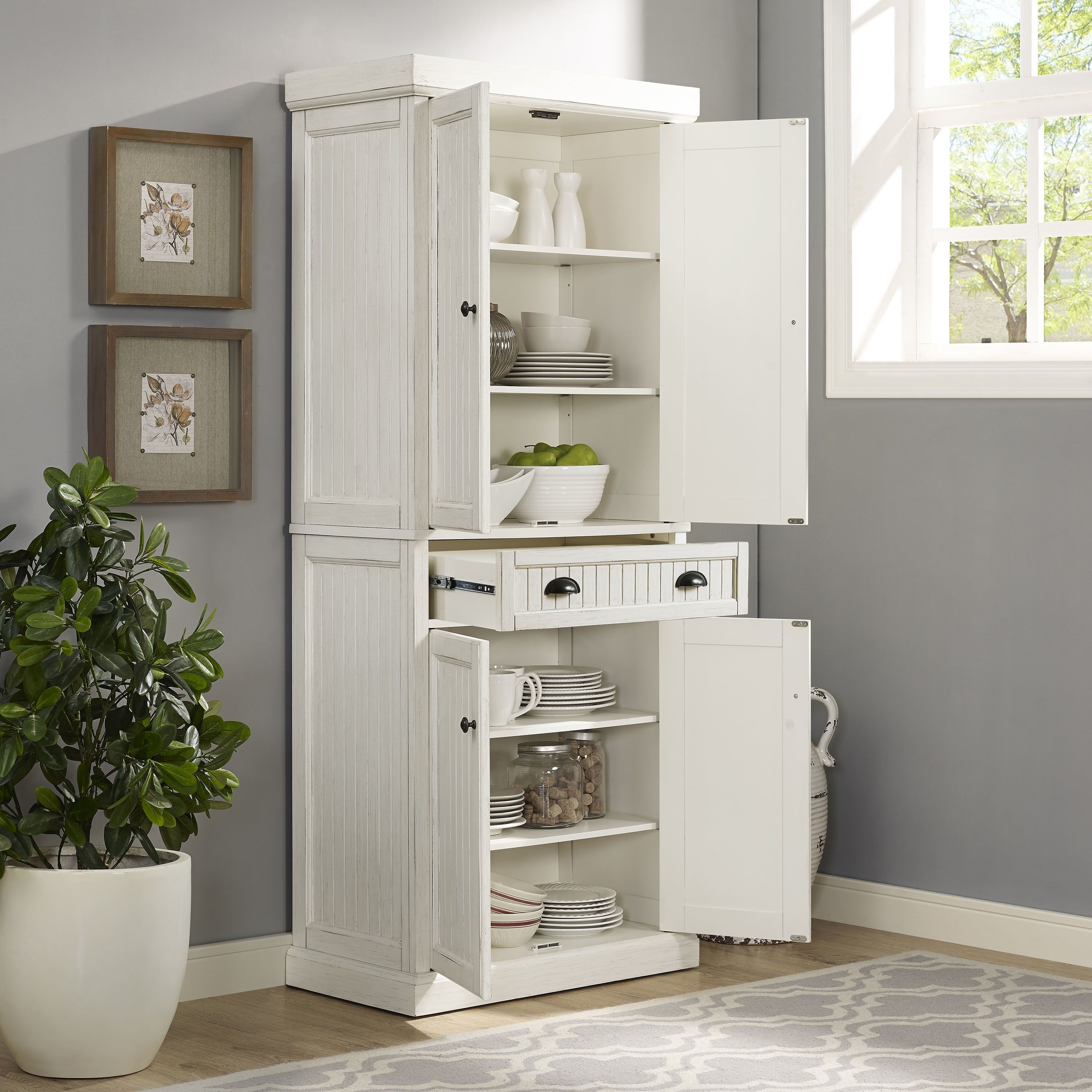 Crosley Furniture Seaside Kitchen Pantry in Distressed White Finish ...