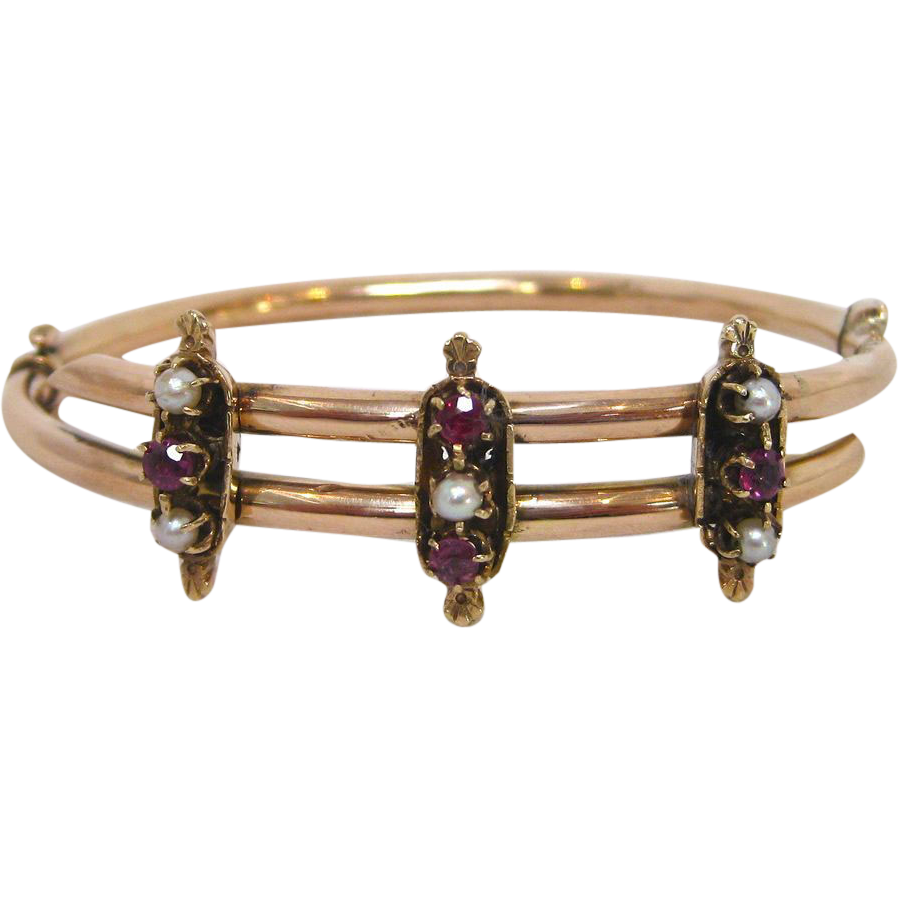 k rose gold etruscan revival pearl and garnet bracelet circa