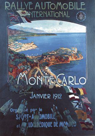 Vintage Auto Rally Monte Carlo Poster Retro Racing