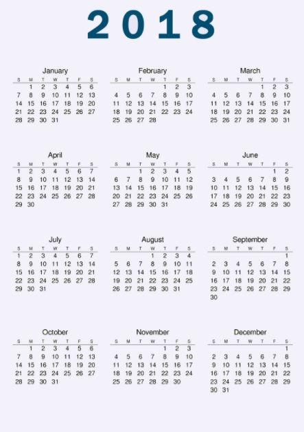 2018 Full Year US Holiday Calendar MaxCalendars Pinterest Time