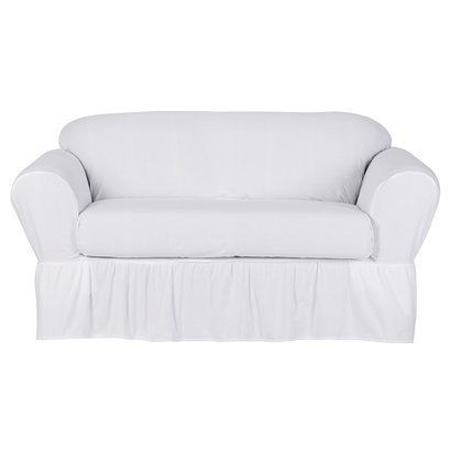 Khaki Cotton Duck Loveseat Slipcover 2 Piece Simply