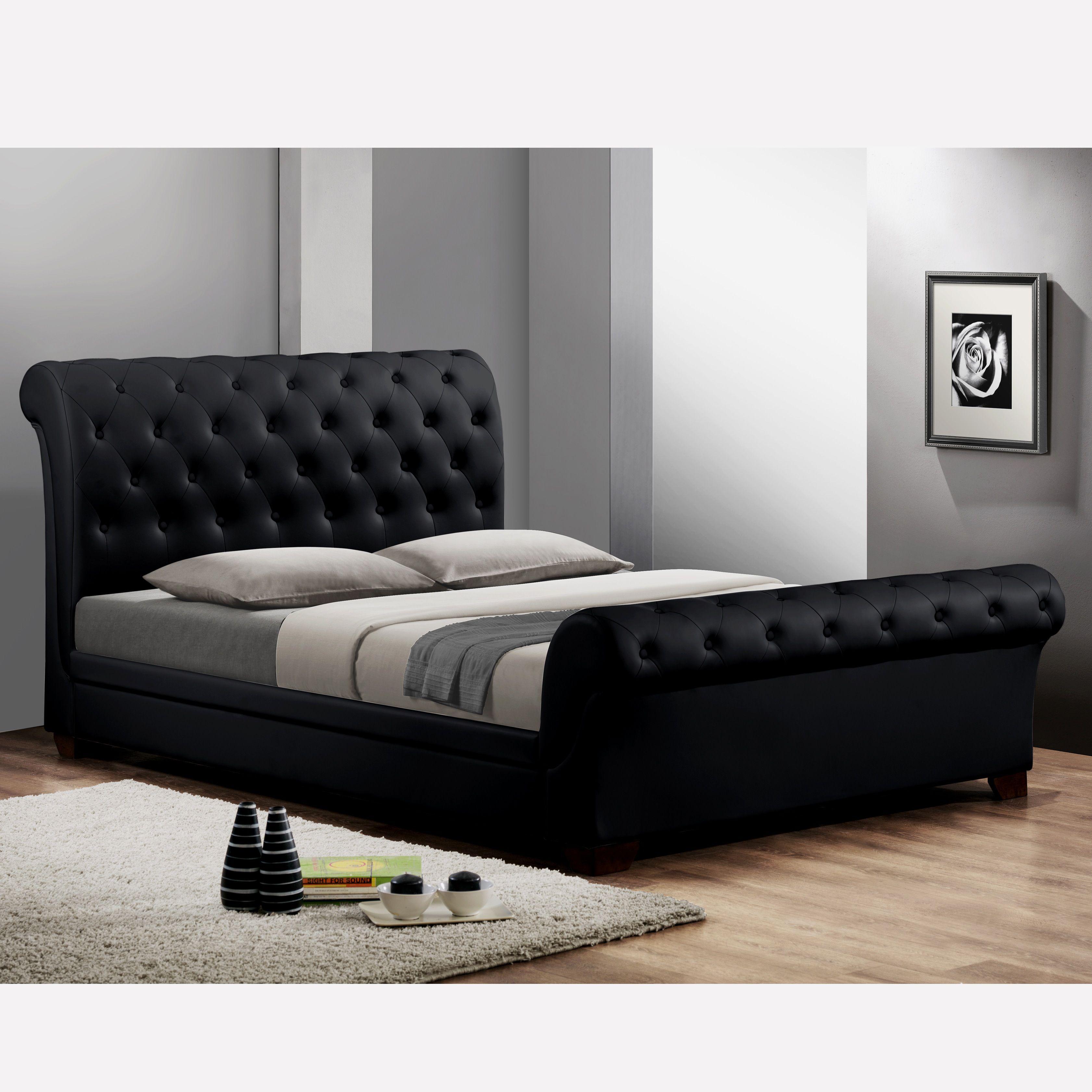 Amazing Black Tufted Headboard Queen Modern Bed Queen Upholstered Headboard Upholstered Sleigh Bed Black Upholstered Bed