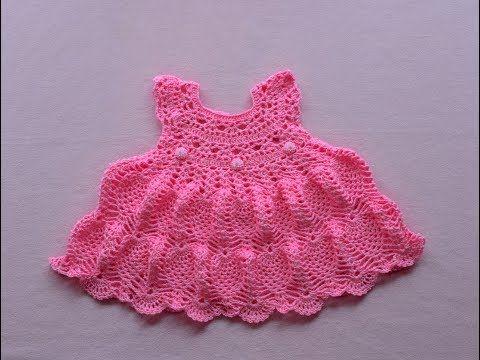 Crochet baby dress/tutorial/pinky pie crochet baby dress - YouTube ...