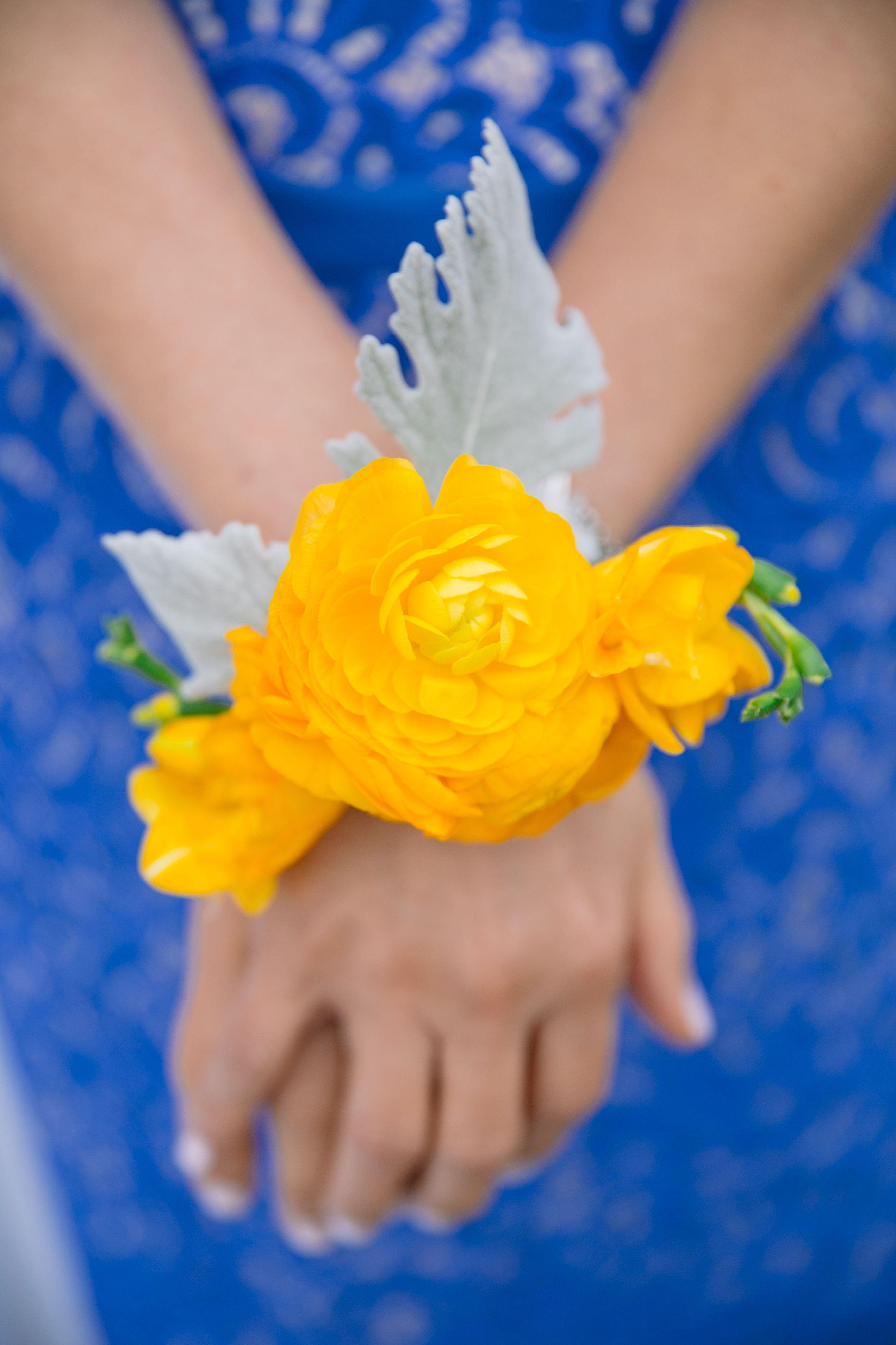 Yellow ranunculus corsage at Filter Building wedding. Evan Godwin Photo