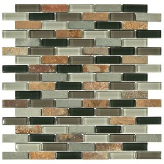 SomerTile 12x11.75-in Reflections Subway Stonehenge Glass and Stone Mosaic Tile (Pack of 10) | Overstock.com Shopping - Big Discounts on Somertile Wall Tiles