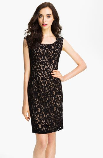 65959dcd Adrianna Papell Cap Sleeve Lace Sheath Dress available at #Nordstrom ...