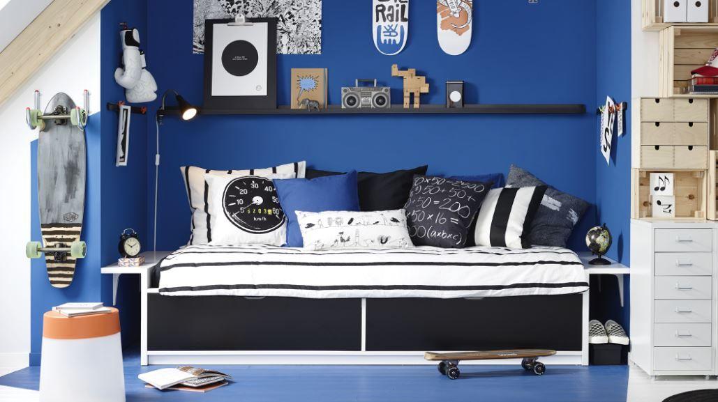Tienerkamer #ikea #langleveverandering #bed #slaapkamer #blauw