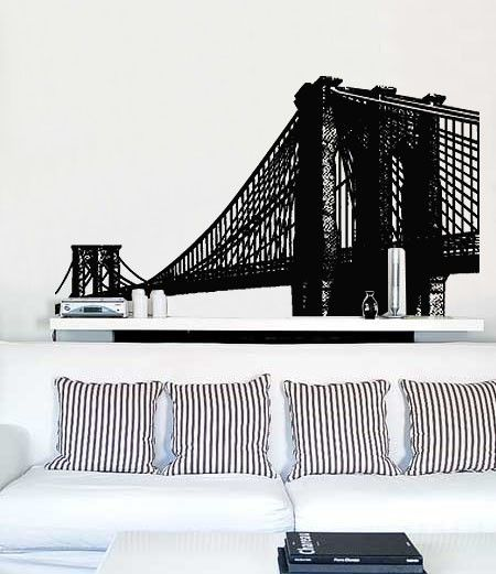 Vinyl wall decal sticker brooklyn bridge new york by stickerbrand 90 00