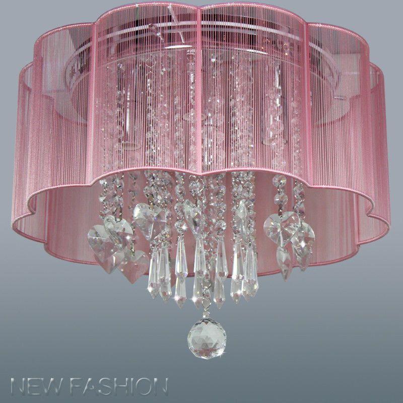 Modern 4 Light Pink Shade Flush Mount Crystal Ceiling Chandelier Lamp Unbranded