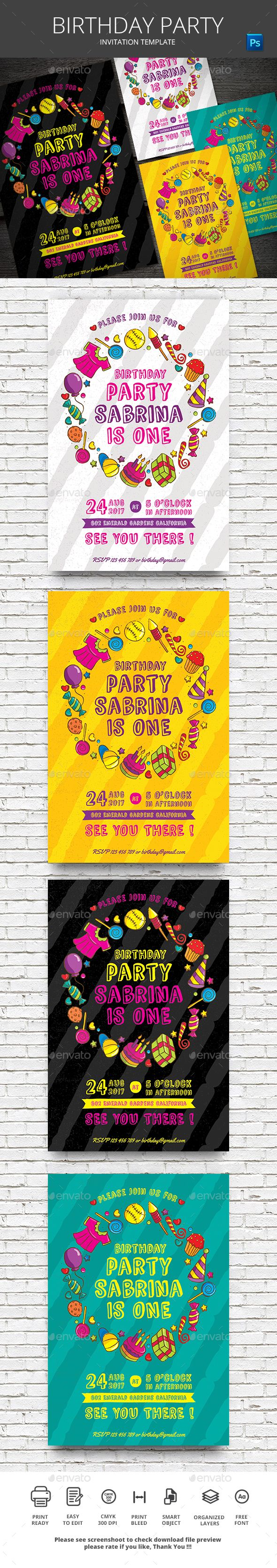 Birthday Invitation Photoshop PSD Cool O Available Here Graphicriver Item 18624671refpxcr