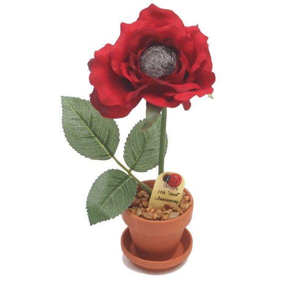 11th Anniversary Gift - Steel Rose