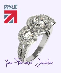 Bespoke platinum three diamond halo engagement ring ...