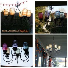 This project was super simple and cheap!  I scored the chandelier at a garage sale recently for $2.  As soon as I saw it, this fantastic mason jar chandelier from Beth at Home Stories A to Z came to mind.  You can get the mason jars for around $7 per case of 12.  I painted them with Deco Art