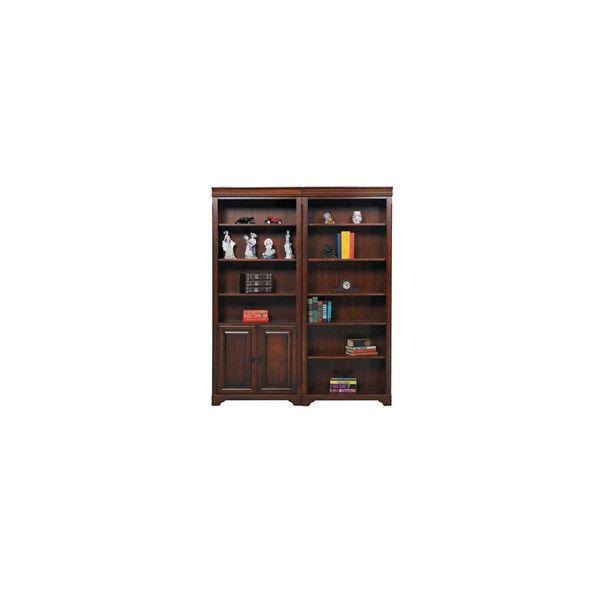 Dark Wood Bookcase - Dark Brown Finish Bookcase w/ Doors ...
