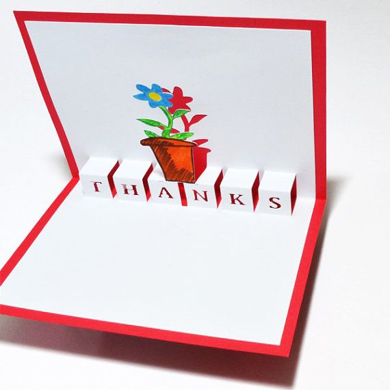 popup thank you card  flower pot red color  cards pop