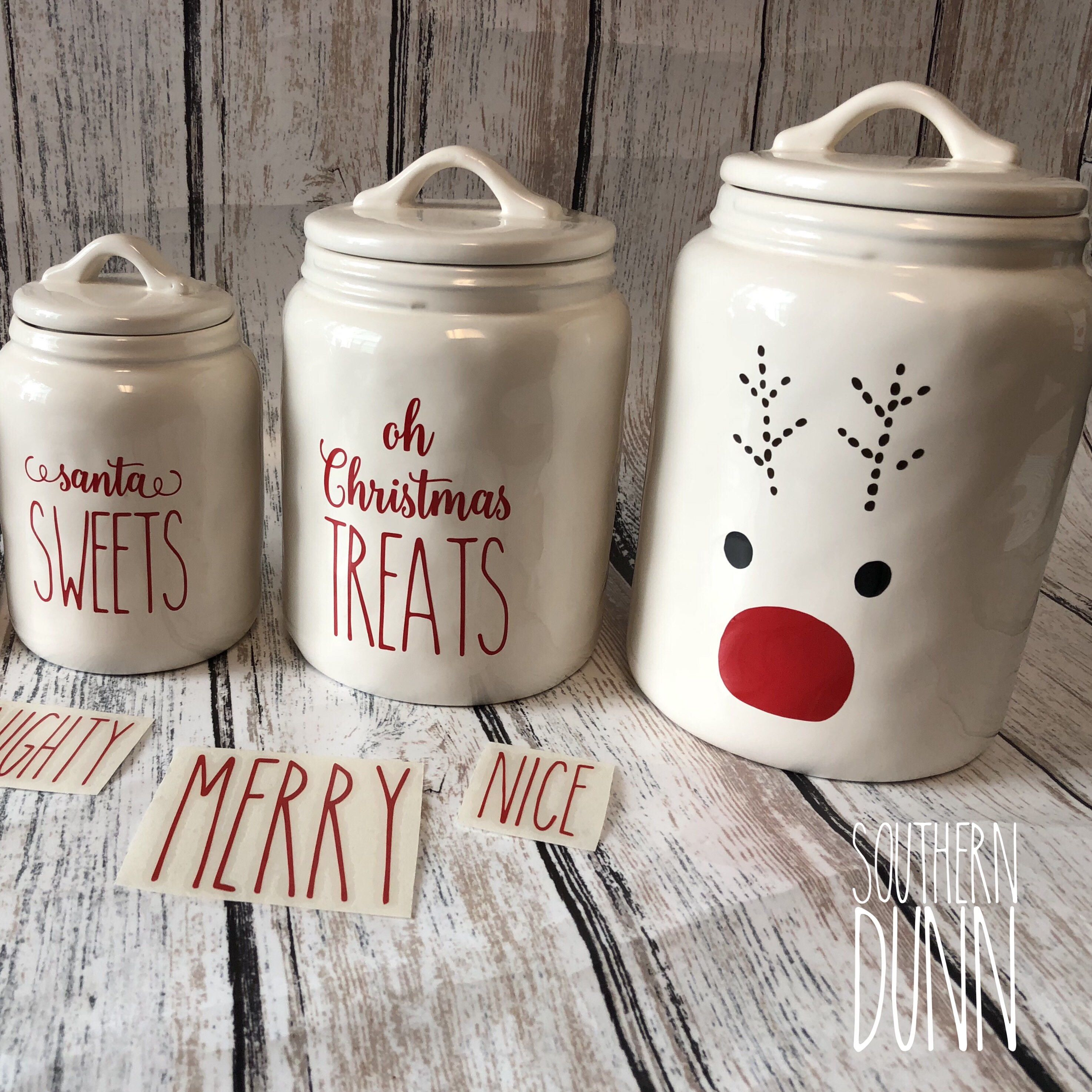 Rae Dunn Inspired Christmas Vinyl Decals Canister Decals