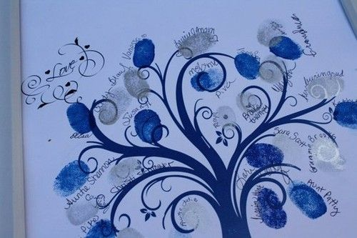 """Fancy Tree Base and done in """"her"""" colors:  Guestbook Fingerprint Tree( 55 guests storybook tree"""