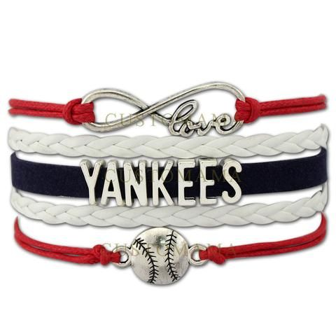Infinity Love Yankees Bracelet Baseball Gift For Fans Navy Red Grey