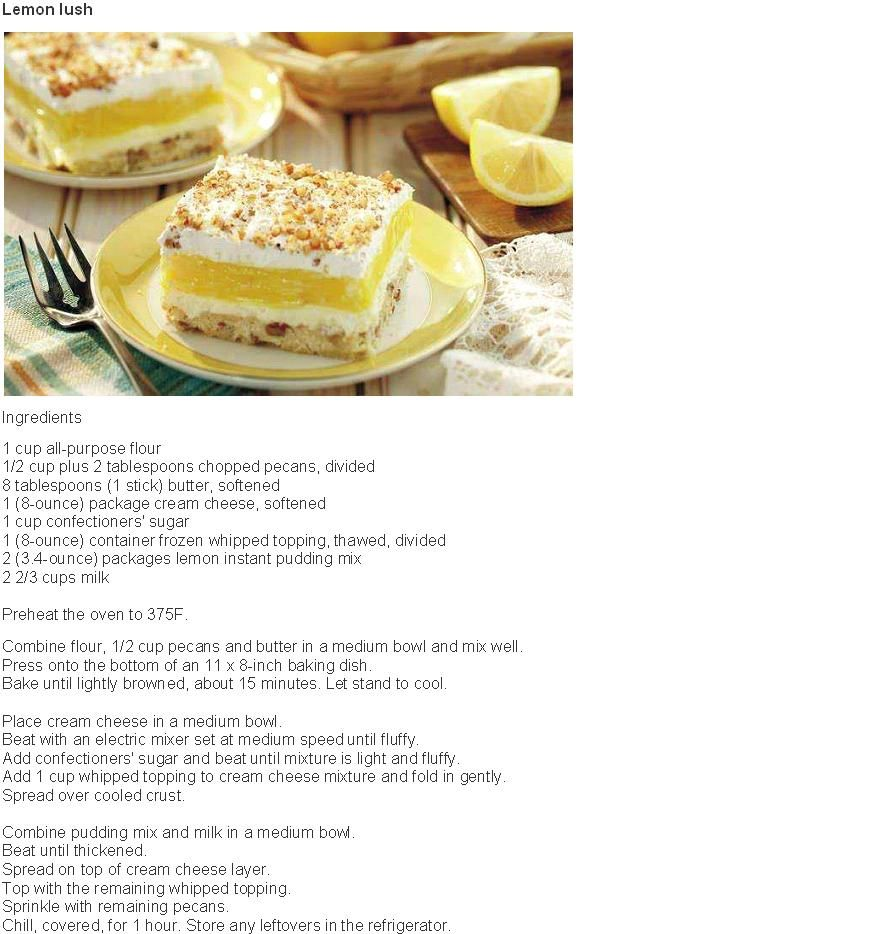 Lemon Lush: can use walnuts instead of pecans make Christmas eve ...