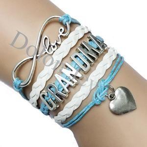 Infinity Love Grandma Bracelet With Heart Charm Light Blue White Braided Leather