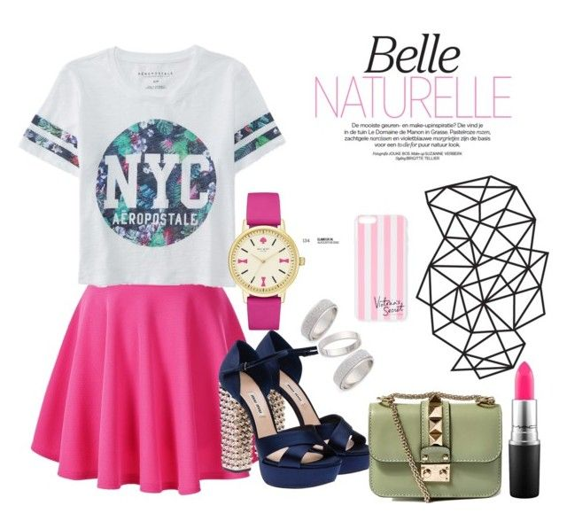 """""""Naturelle"""" by cupcakepupbea ❤ liked on Polyvore featuring Aéropostale, Miu Miu, Valentino, Kate Spade, MAC Cosmetics, Topshop, Victoria's Secret, women's clothing, women's fashion and women"""
