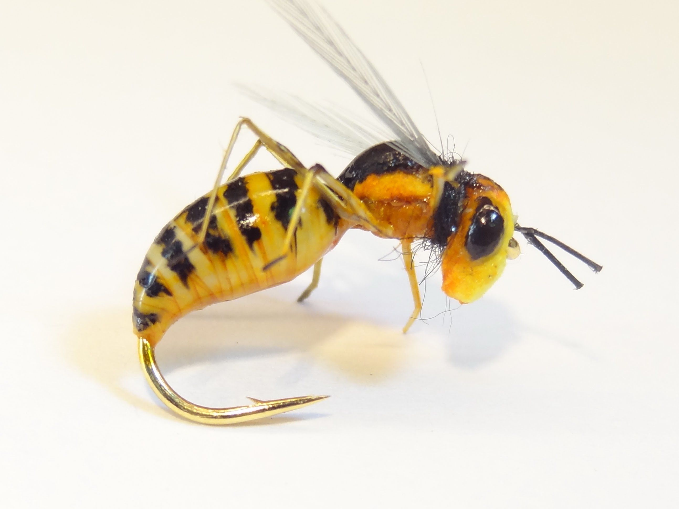 Realistic medical glove body wasp fly fly fishing for Fly fishing bait