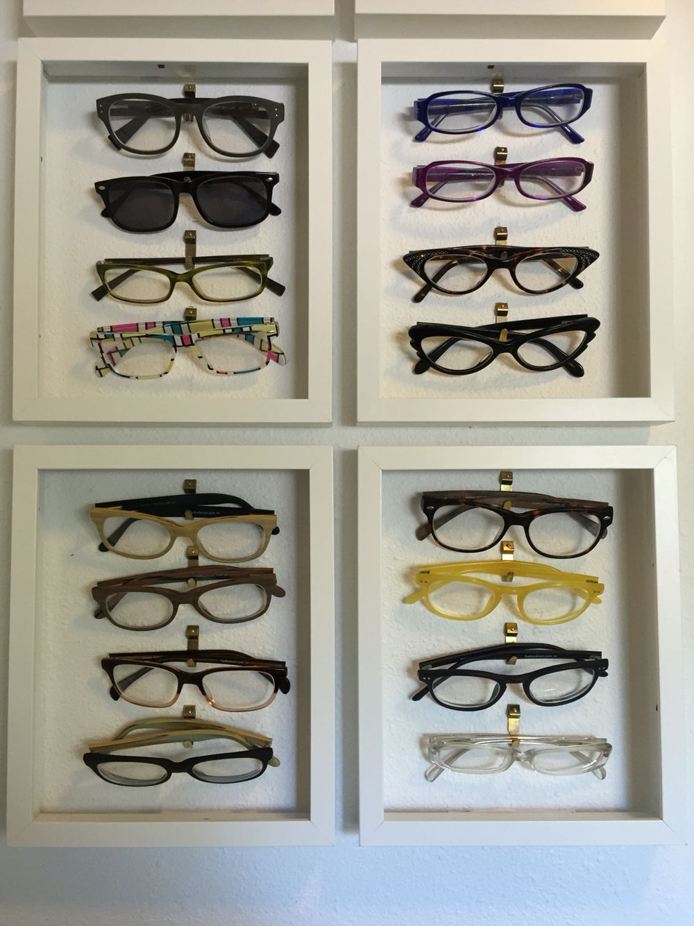 Eyeglasses or Sunglasses organization display. I made this with IKEA ...