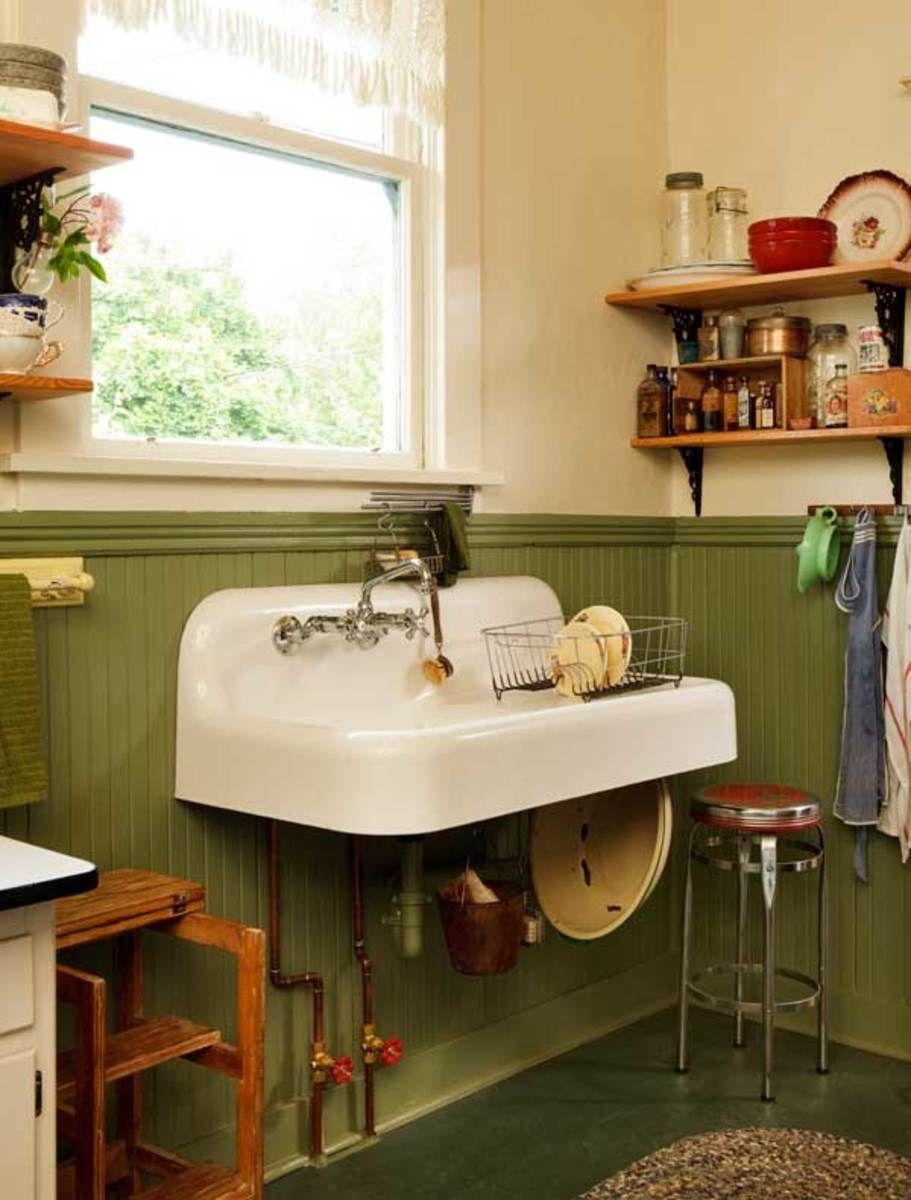 A Simple Vintage Kitchen Restoration Wall Mounted Sink Base