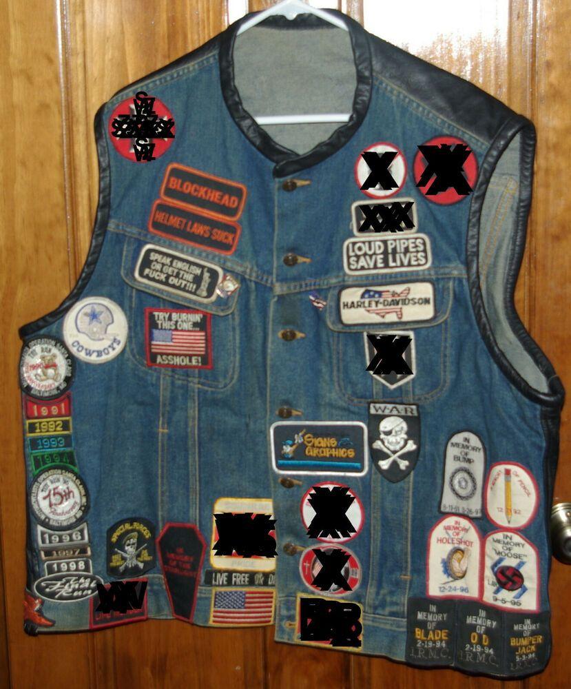 Vintage Biker Vest Jacket Patches Denim Authentic Over 50 Patches Ebay In 2020 Vintage Biker Vest Jacket Biker Vest