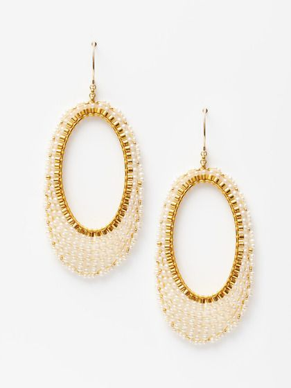 Pearl Elongated Open Drop Earrings
